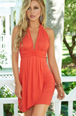 AM PM Drape Panel Mini Dress - Coral