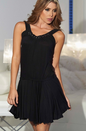 AM PM Tank Style Neckline with Shimmering Accent Mini Dress - Black