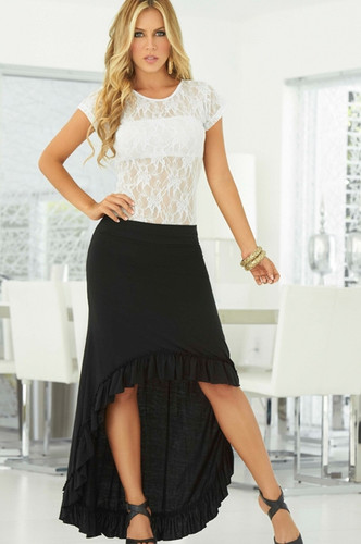 AM PM Flowing Skirt with Ruffle - Black