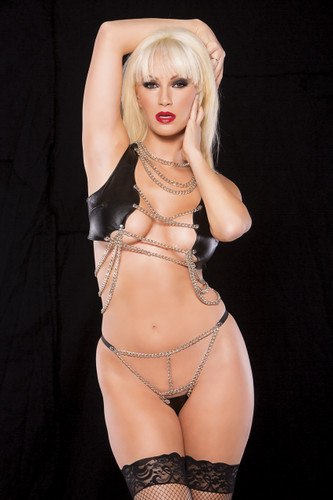 Allure Lingerie Faux Leather and Chain Top and G-String