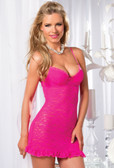 Be Wicked One Piece Underwire Lace Bustle Back Chemise - Hot Pink