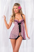 Be Wicked Two Piece Mesh Babydoll with Padded Underwire Cups