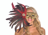 Be Wicked Wand Held Feather Mask