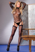 Be Wicked Three-piece Long Sleeve Floral Lace Bodystocking