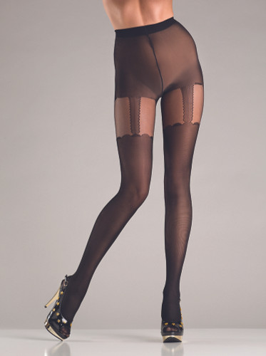 Be Wicked Opaque Black Suspender Pantyhose