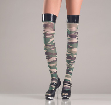 Be Wicked Camouflage Thigh High Stockings