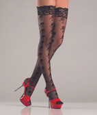 Be Wicked Floral Design Black Thigh High Stockings