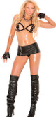 Elegant Moments 2 Piece Set Leather Halter Bra and Matching Skirt