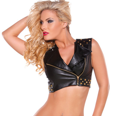 Allure Lingerie Faux Leather Vest with Gold Zip