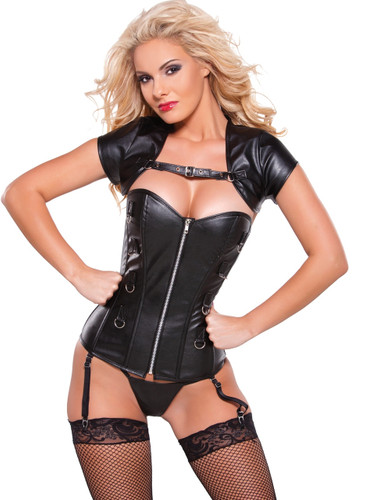 Allure Lingerie Faux Leather Corset with Bolero Top
