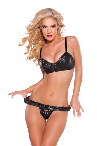 Allure Lingerie Faux Leather Bra and G-String Set