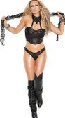 Elegant Moments 2 Piece Set Leather and Fishnet Cami Top