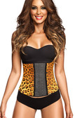 Ann Chery Latex Sport Workout Waist Cincher Corset Animal Print - Yellow
