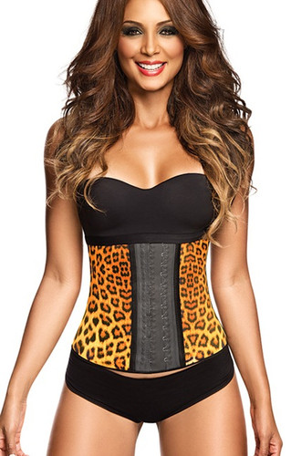 Ann Chery Latex Sport Workout Waist Cincher Corset Animal Print Plus Size - Yellow