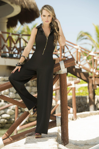 AM PM Zipper Front Jumpsuit - Black