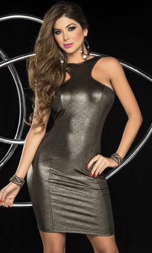 AM PM Gunmetal Gold Dress