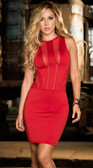 AM PM Espiral Mesh Panel Mini Dress - Red