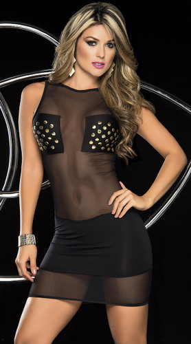 AMPM Espiral Black Mesh Mini Dress