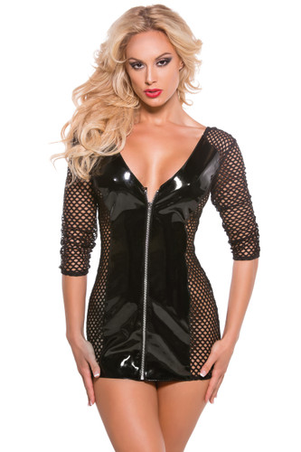 Allure Lingerie Vinyl and Fishnet Mini Dress