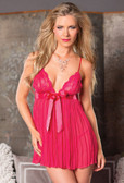 Be Wicked Two Piece Pleated Babydoll - Fuchsia
