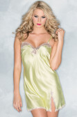 Be Wicked Satin Babydoll with Lace Detail - Yellow