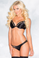 Be Wicked Black Silk Plunge Bra and Panty Set