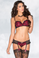 Be Wicked Black and Red Lace and Satin Bra Set