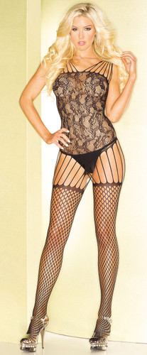 Be Wicked Black Abstract Pattern Bodystocking