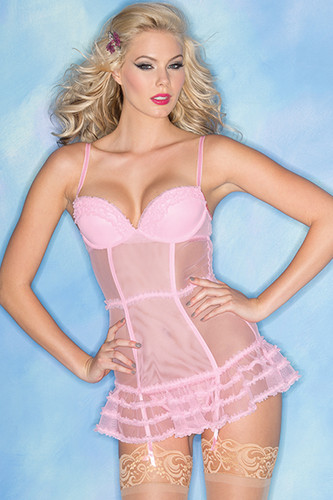 Be Wicked 2 Piece Candy Pink Sheer Chemise