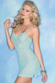 Be Wicked 1 Piece Stretch Lace Chemise - Turquoise