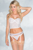 Be Wicked 1 Piece Lace Garter Belt - White
