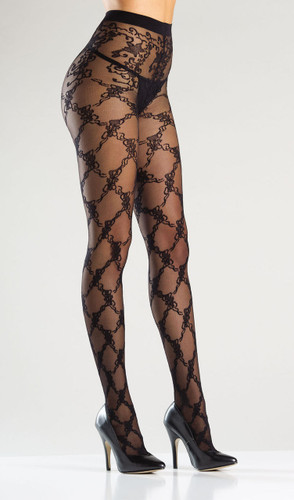 Be Wicked Pantyhose with Floral Design