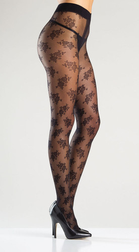 Be Wicked Floral Design Sheer Tights Pantyhose