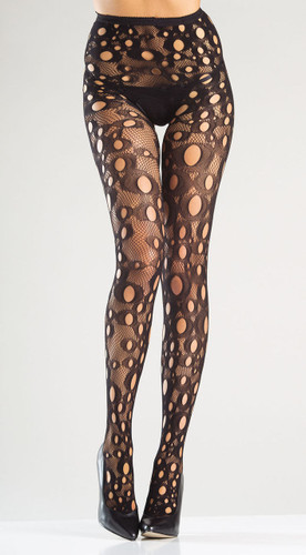 Be Wicked Crotchless Holey Fishnet Tights Pantyhose