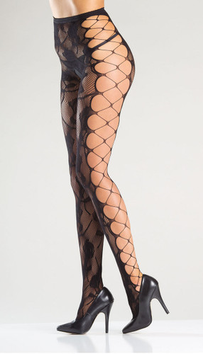 Be Wicked Floral Fishnet Tights with Faux Side Lacing Pantyhose