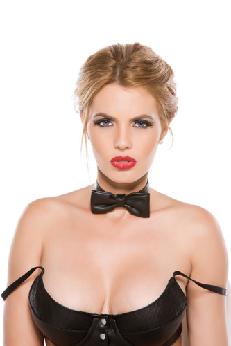 Allure Lingerie Faux Leather Bow Tie Collar
