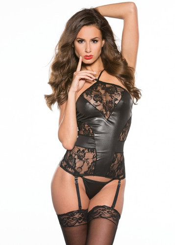 Allure Lingerie Lace & Wet Look Corset
