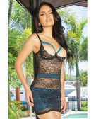Coquette All Over Stretch Lace & Microfiber Paneled Chemise w/Demi Cups