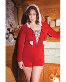 Coquette Holiday Stretch Velvet Hooded Romper w/Faux Trim, & Pom Poms - Queen Size