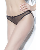 Darque Mesh Crotchless Panty w/Leather Lace Up Panel & Back Boning