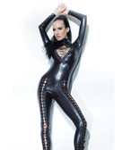Darque Wet Look Jumpsuit w/Lace Up Detail & Back Zipper Closure