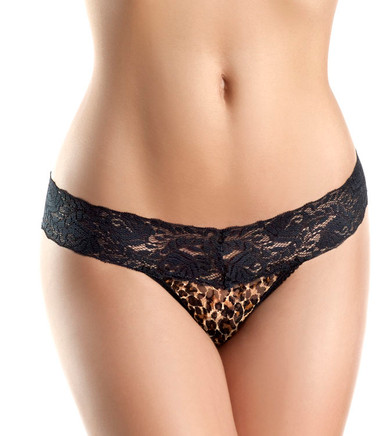 Be Wicked Leopard Print Lace Panty - Black/Leopard