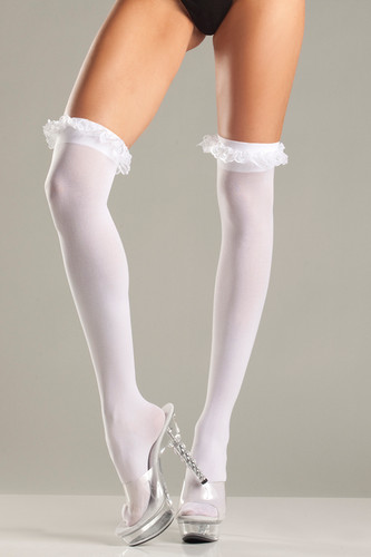 Be Wicked Sheer Thigh Highs with Garter Lace Ruffle Top