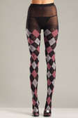 Be Wicked Black and Fuchsia Argyle Tights