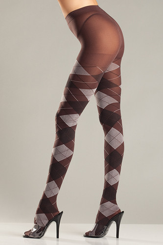 Be Wicked Brown and Grey Argyle Tights