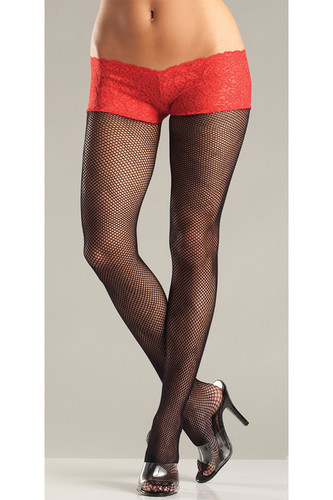Be Wicked Fishnet Pantyhose with Attached Lace Shorts