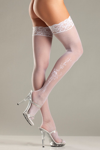 Be Wicked Sheer Lace-top Stockings