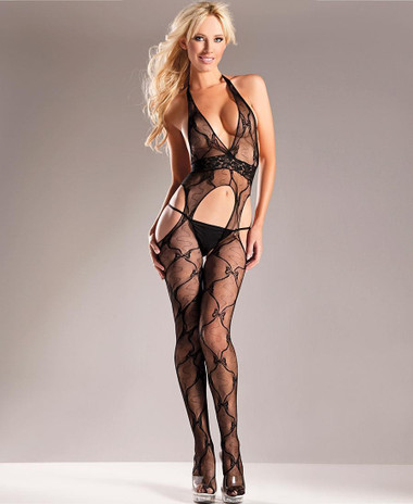 Be Wicked Bow Lace Suspender Bodystocking