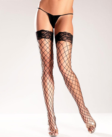 Be Wicked Fence Net Lace-top Thigh High