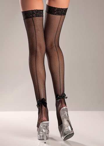 Be Wicked Fishnet Thigh High with Back Bow